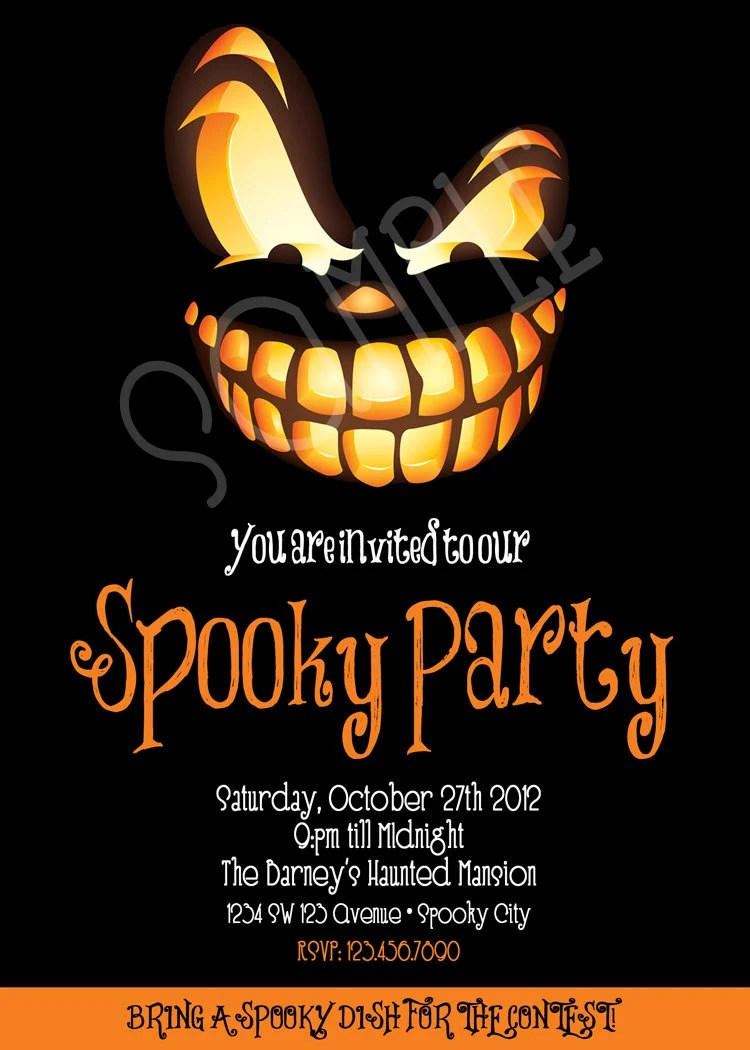 Spooky Party Invitation Adult Halloween Invitation Etsy - halloween invitation