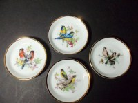 Decorative Bird Plates Gold Trim Set of 4 Shabby Chic for Bird