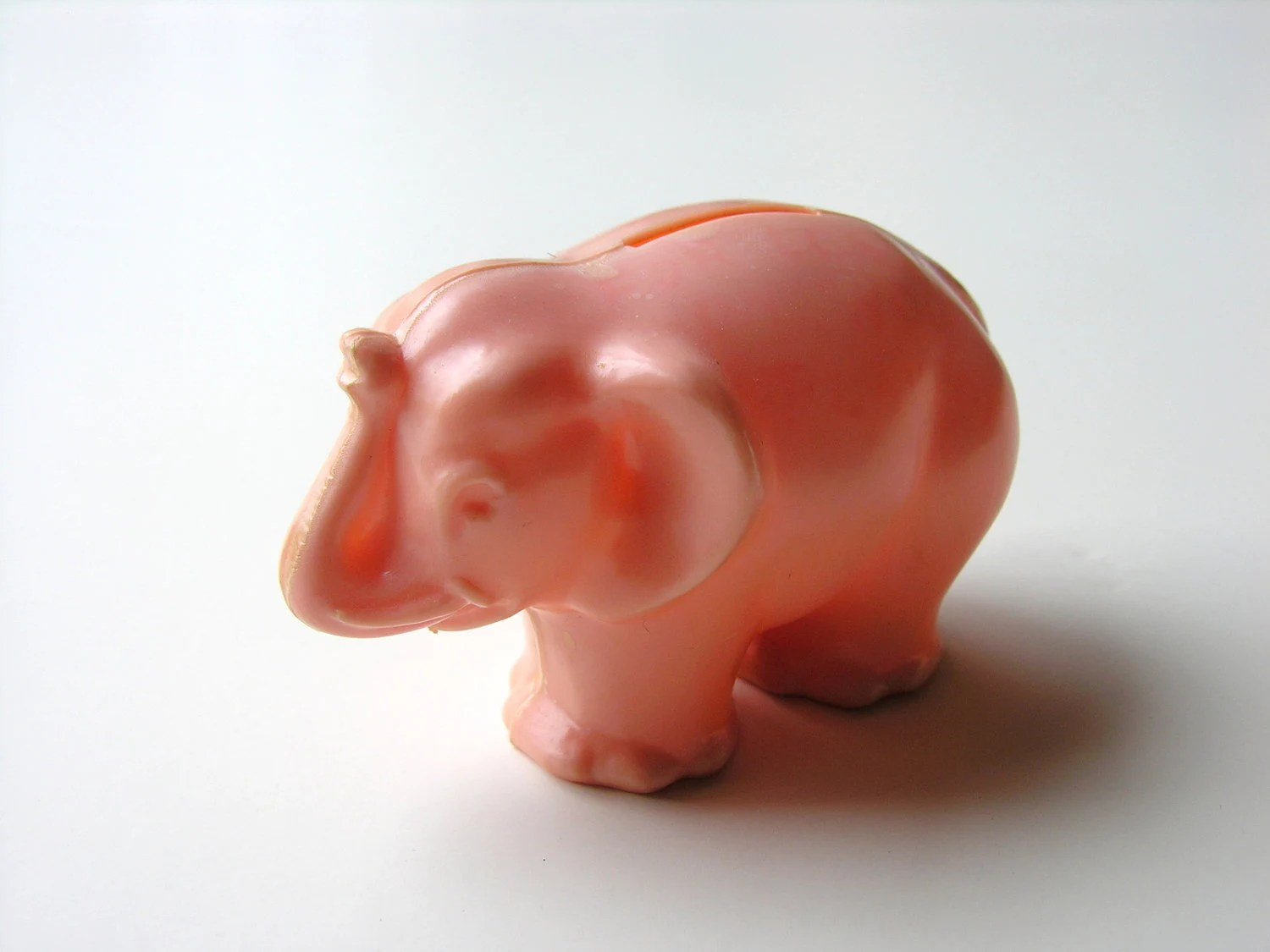 Pink Plastic Piggy Banks Pink Elephant Piggy Bank Vintage Plastic Money Coin By