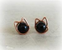 Black Cat Stud Earrings Copper Earrings Halloween Earrings