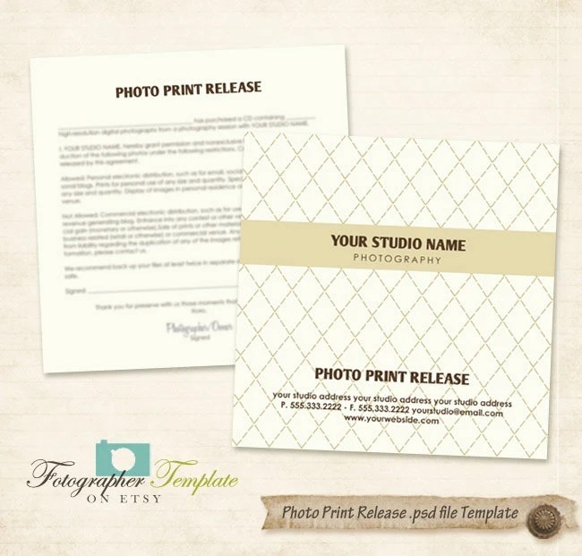 Photo Print Release Form Template CD DVD Photography Forms - print release form