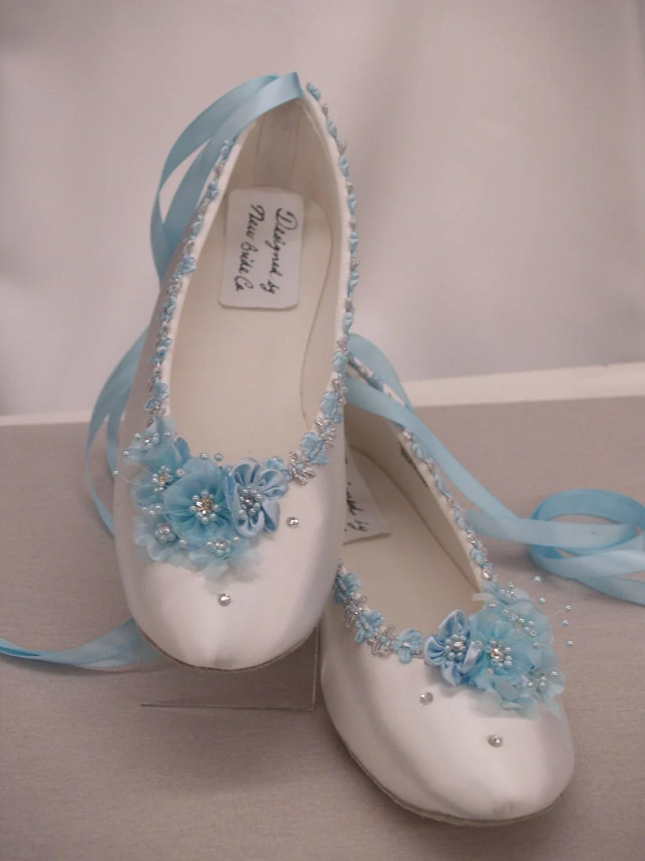 blue wedding flats white satin shoes wedding slippers zoom