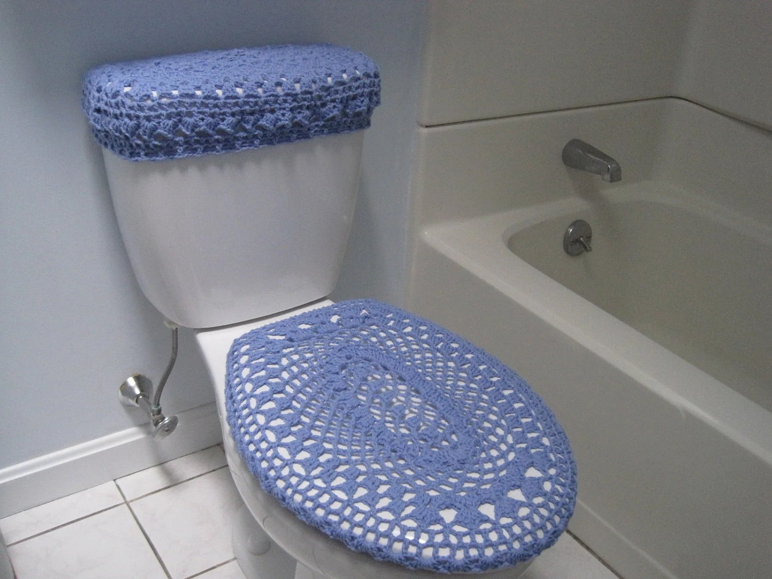 Bleach In Toilet Tank Set Of 2 Crochet Covers For Toilet Seat & Toilet Tank Lid