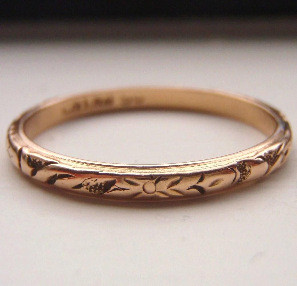 vintage solid 15k rose gold wedding band gold wedding bands zoom