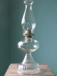 Large Vintage Oil Lamp-Hurricane Lamp-Antique Glass Lamp
