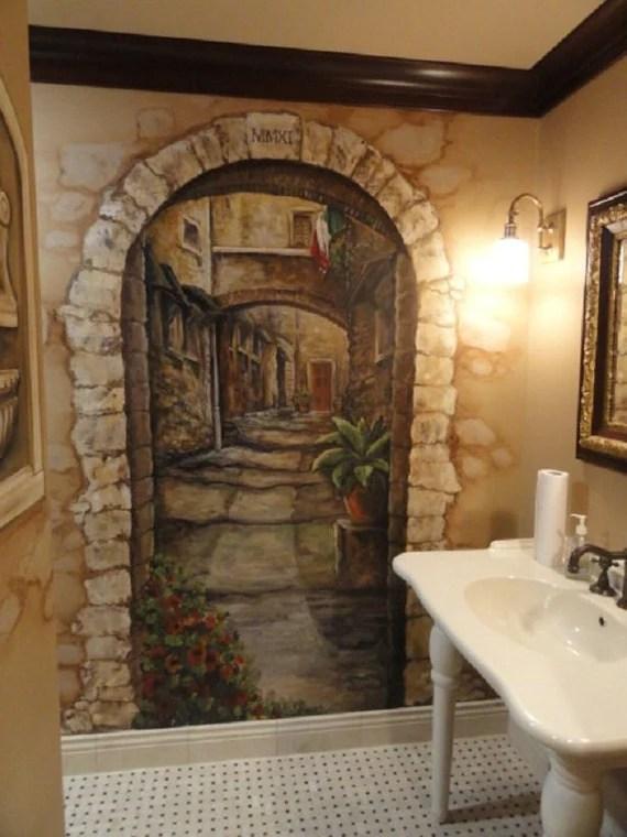 3d Faux Stone Wallpaper Custom Mural Cortona Italy Art Italian Mural By Mariasideasart