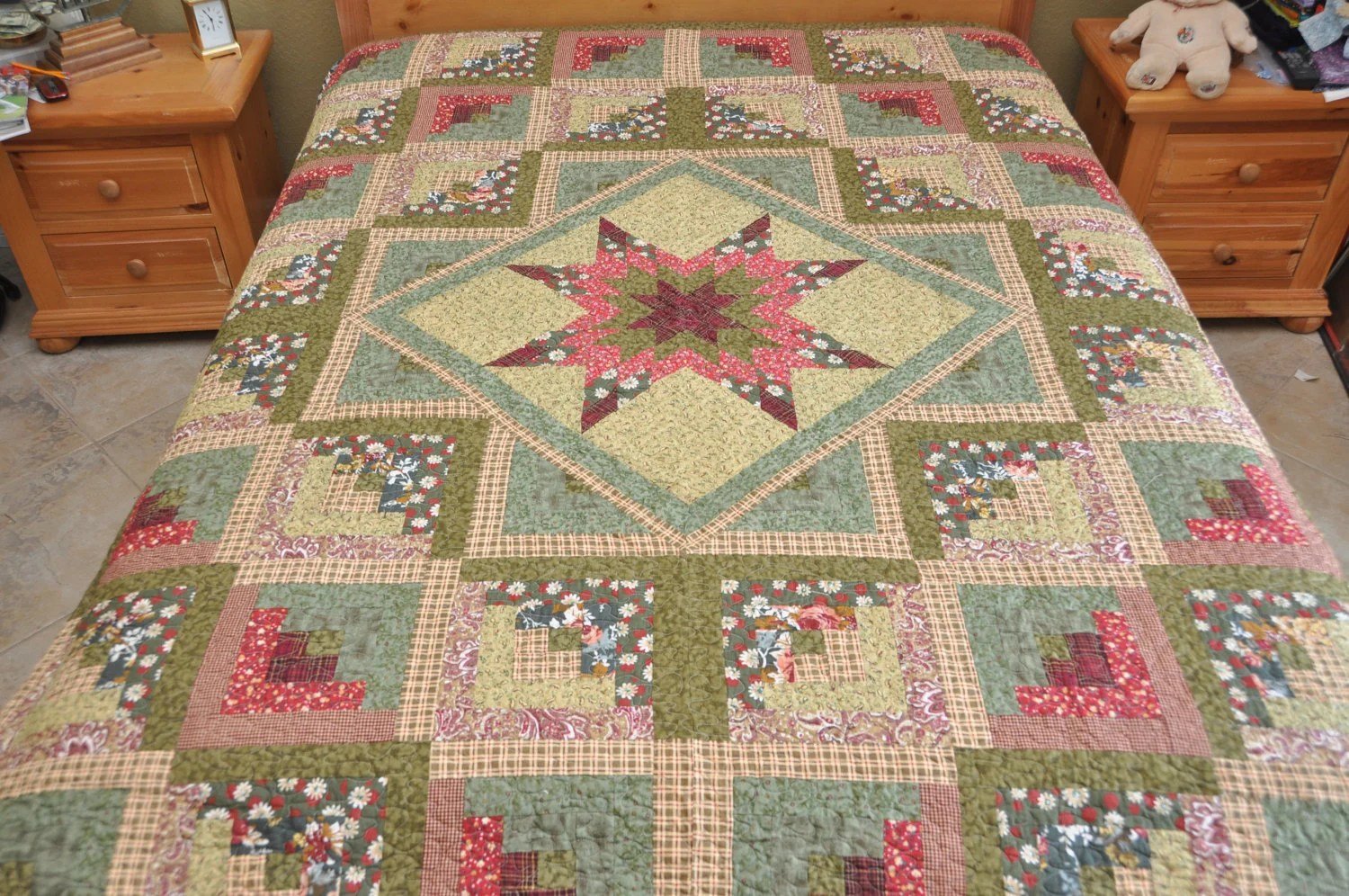 King Quilt Size King Size Star Log Cabin Patchwork Complete Quilt Machine