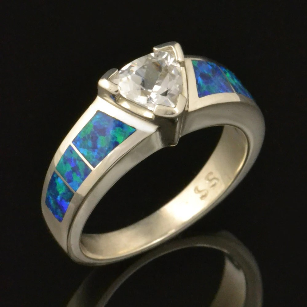 lab created opal engagement ring with blue opal wedding rings Opal Engagement Ring with Trillion White Sapphire zoom