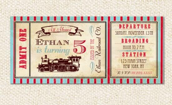 Train Ticket Invitations Train birthday invitations - ticket invitation