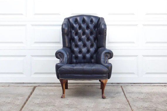 High Back High Arm Sofa Vintage Navy Blue Tufted Leather Wingback By Homesteadseattle