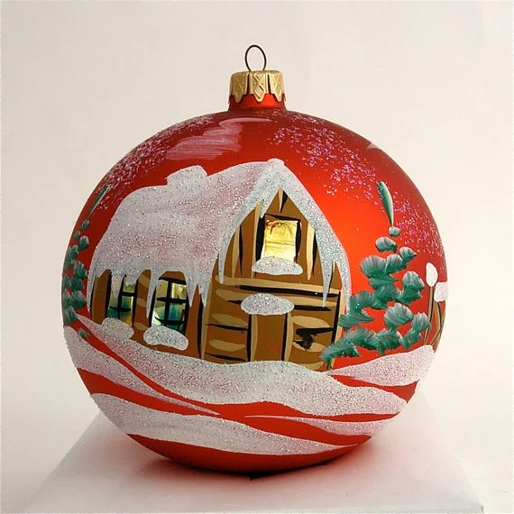 Items Similar To Hand Painted Christmas Ornament Glass