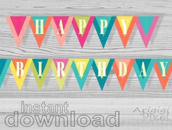 Happy Birthday banner printable birthday celebration party