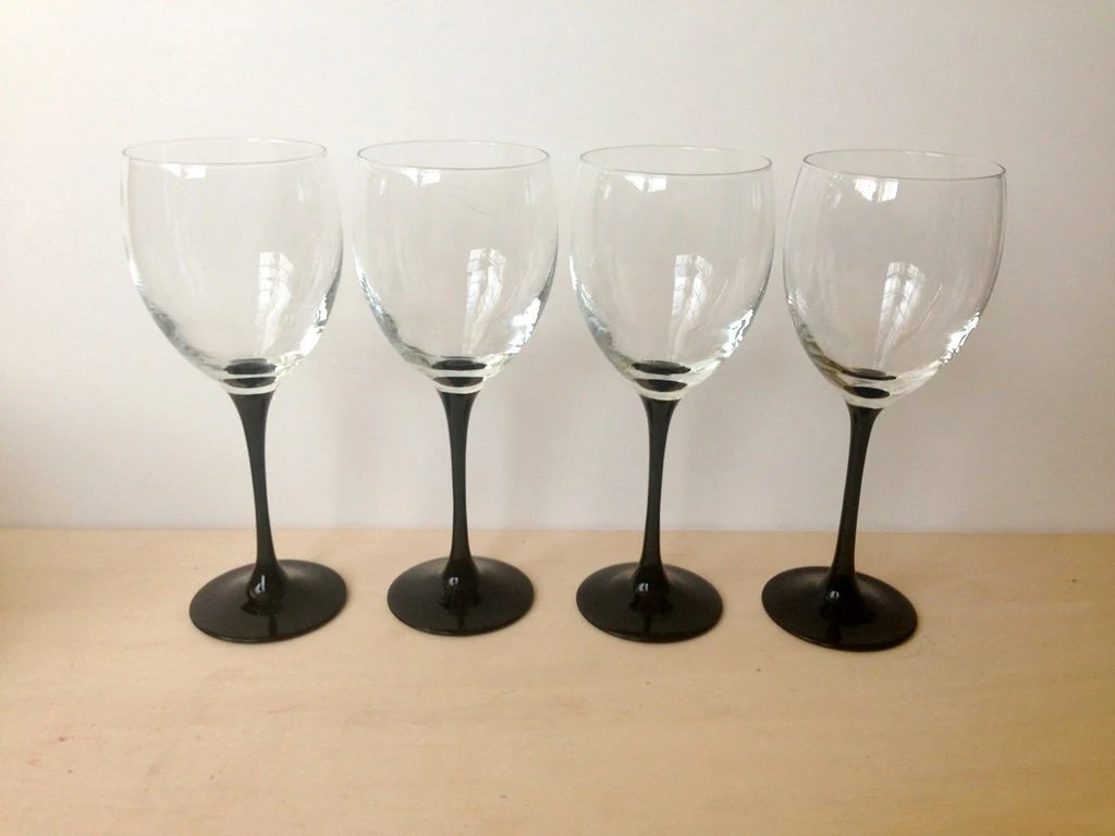 Wine Glasses With Black Stems Vintage Luminarc Large White Wine Glasses Black Stem Set Of