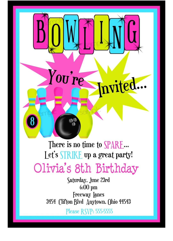 Bowling Invitations, Bowling Birthday Party, Cosmic Bowling - bowling invitation