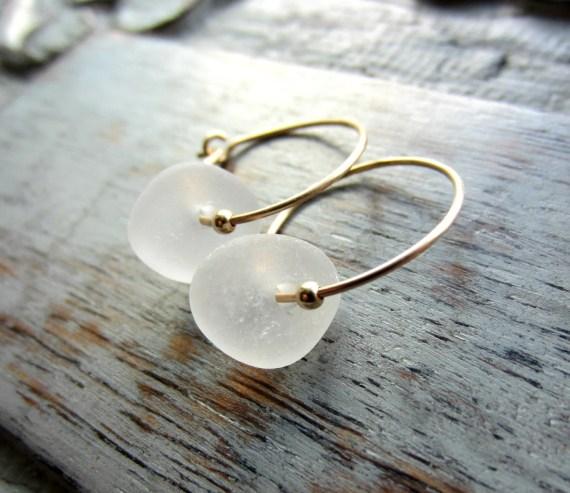 Sea Glass Hoop Earrings, Gold Filled Hoop Earrings, White Seaglass, Small Gold Hoop Earrings