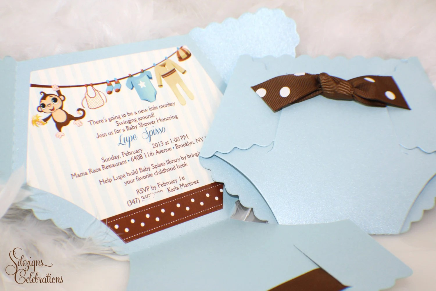 Diaper Baby Shower Invitation Monkey Baby Shower Invitation - diaper invitation