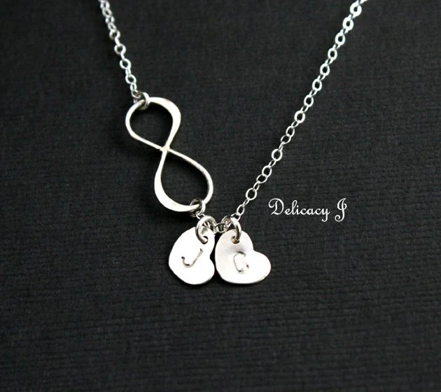 Personalized Infinity Necklace Initial Heart Necklace Two