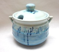 Blue Serving Bowl Lid Glazed Soup Tureen by sweetie2sweetie