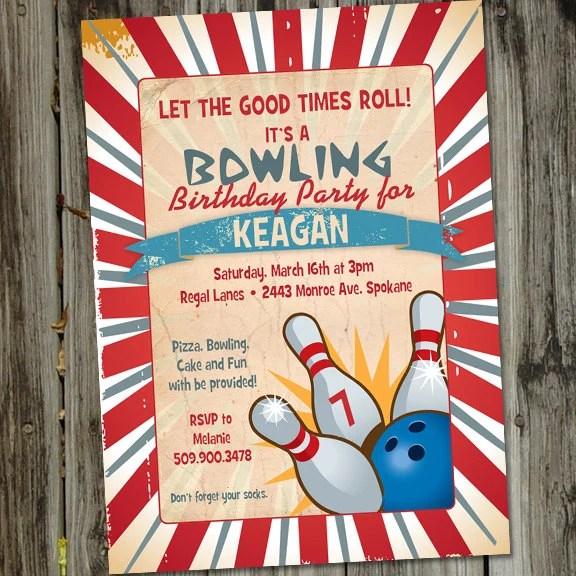 Retro Vintage Bowling PRINTABLE Birthday Party Invitation by Party - bowling invitation