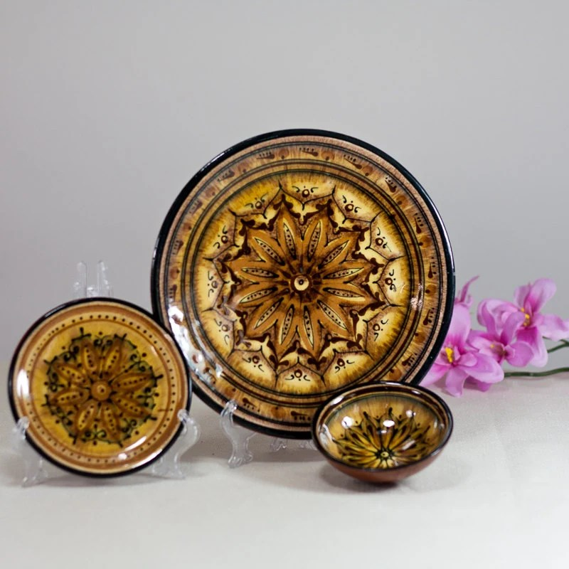 Moroccan Ceramic Plates Set Of 2 Plates And A Bowl Colorful