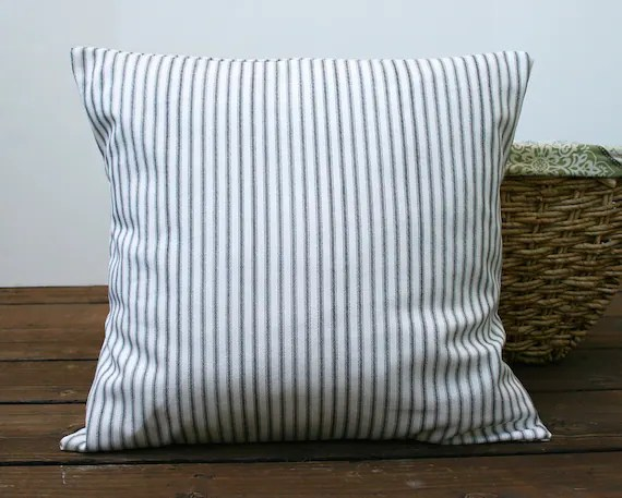 Gray Ticking Stripe Pillow Cover By Carijoydesigns On Etsy