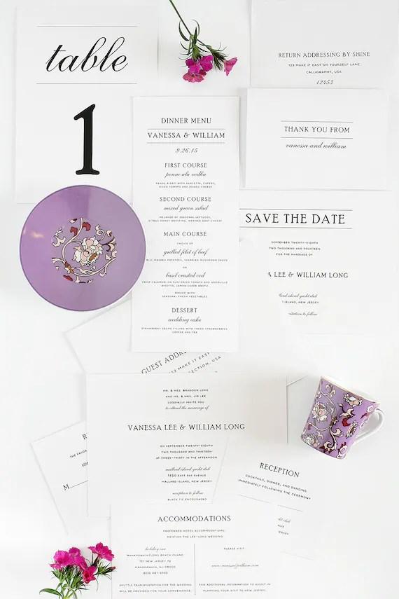 Wedding Invitation Package Simple Elegance By Shineinvitations