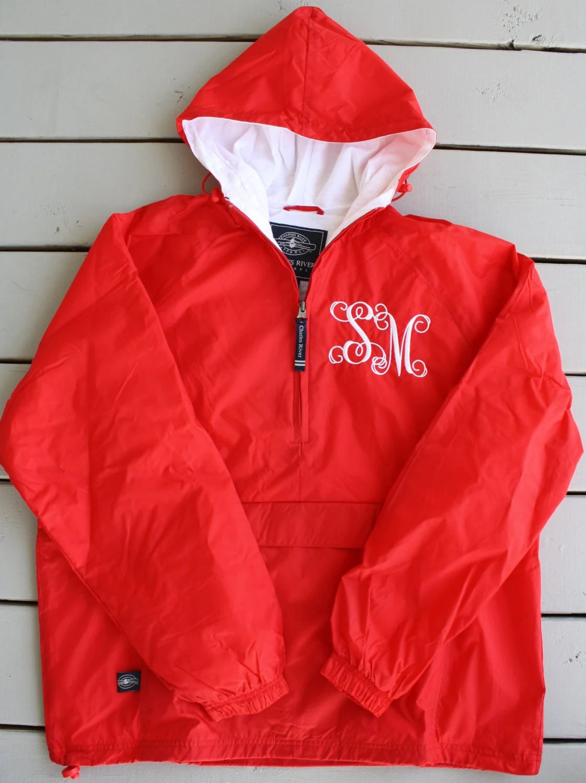 monogrammed rain jacket pullover
