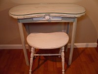 RESERVED Vintage Kidney Shaped Wooden Vanity w/Glass Top Piece