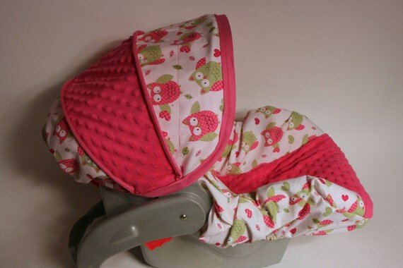 Infant Car Seat Covers Girl Girl Infant Seat Cover Cute Owls And Fuschia Minky Custom
