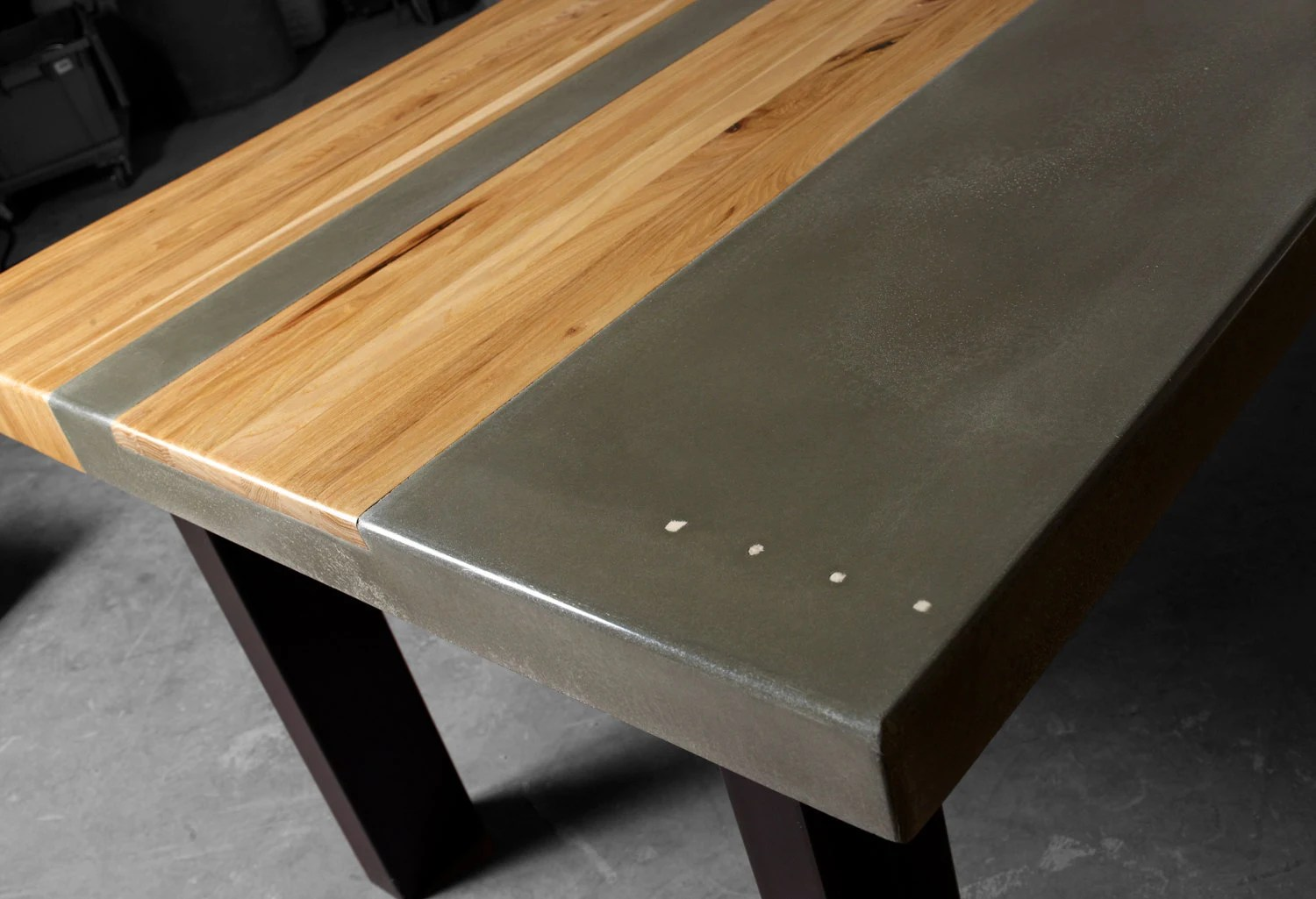 Concrete Table Top Concrete Wood And Steel Dining Kitchen Table