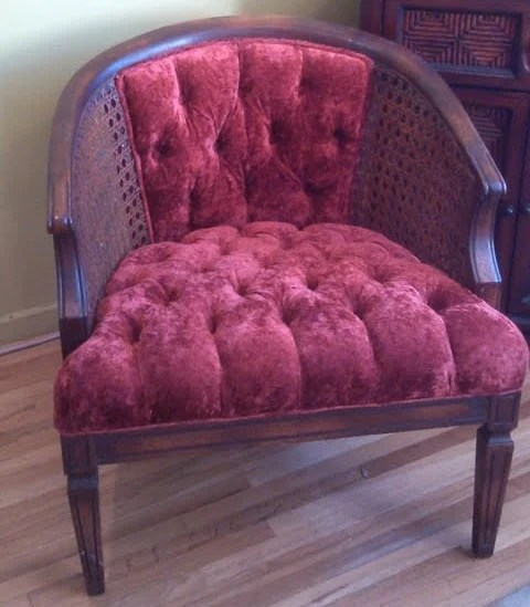 Side Arm Chair Vintage Cane Side Barrel Chair With Tufted Crushed Velvet