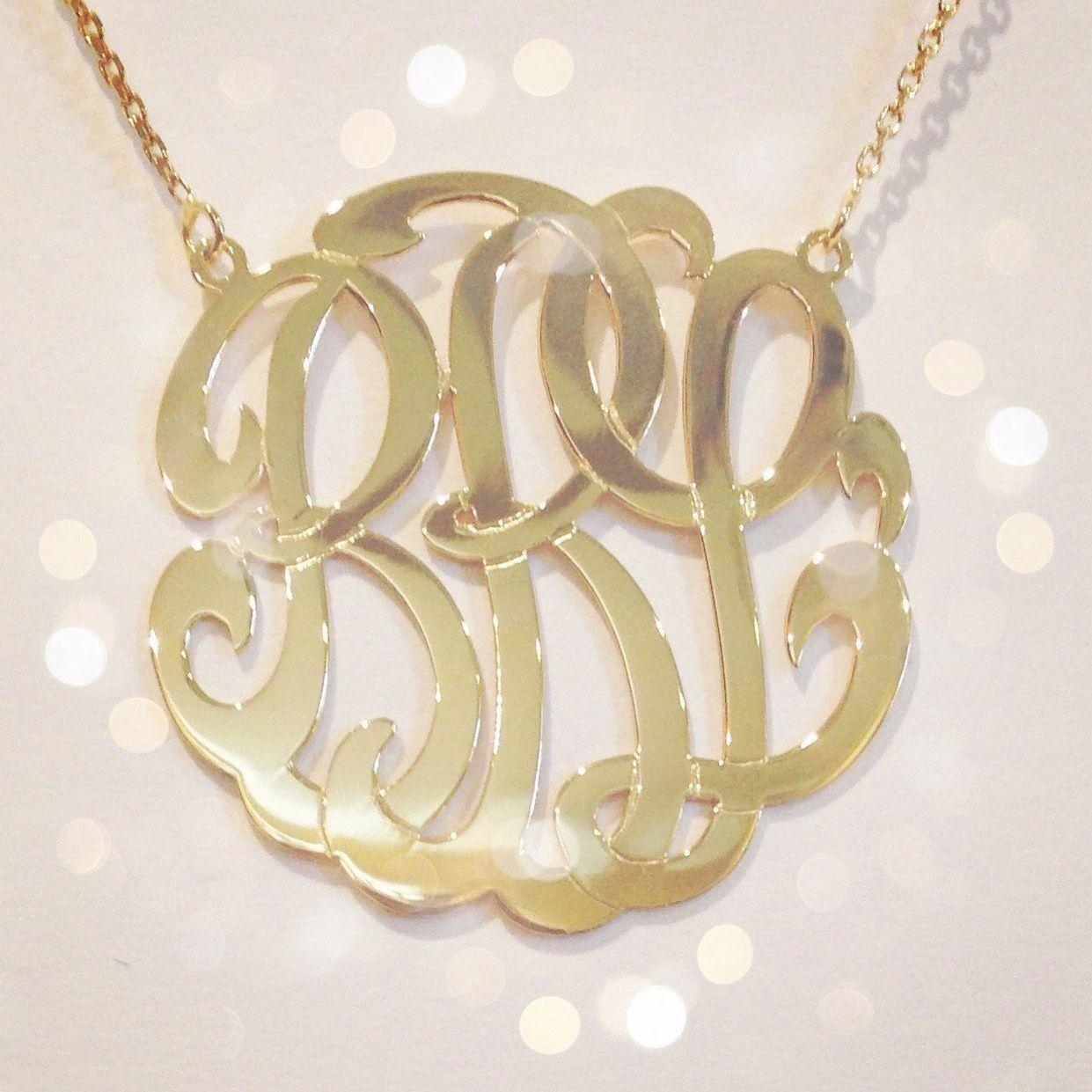 gold monogram necklace etsy