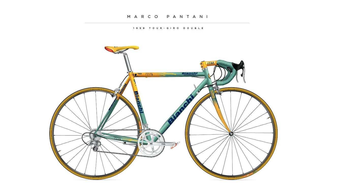 Poster Fahrrad Bike Poster Of The Marco Pantani Bianchi From 1998