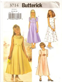 Girls Semi Formal Junior Bridesmaid DRESS Butterick 3714