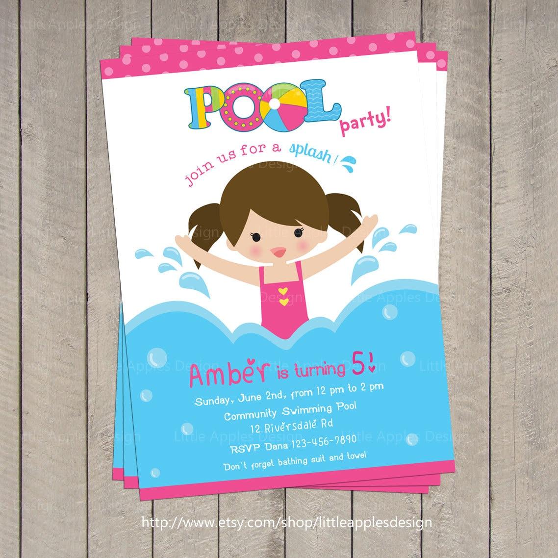 kid pool party invitations