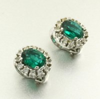 Diamond Earrings: Fake Emerald And Diamond Earrings