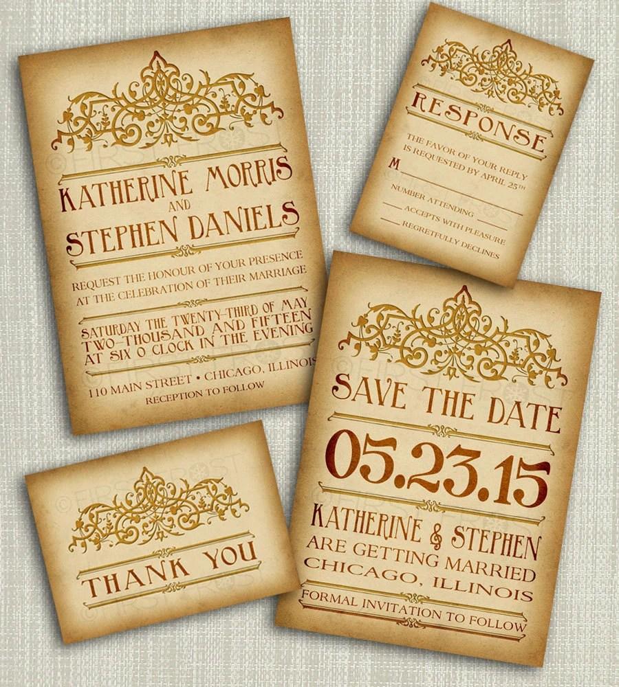 Printable Vintage Style Wedding Invitation Suite - DIY 4 Pieces