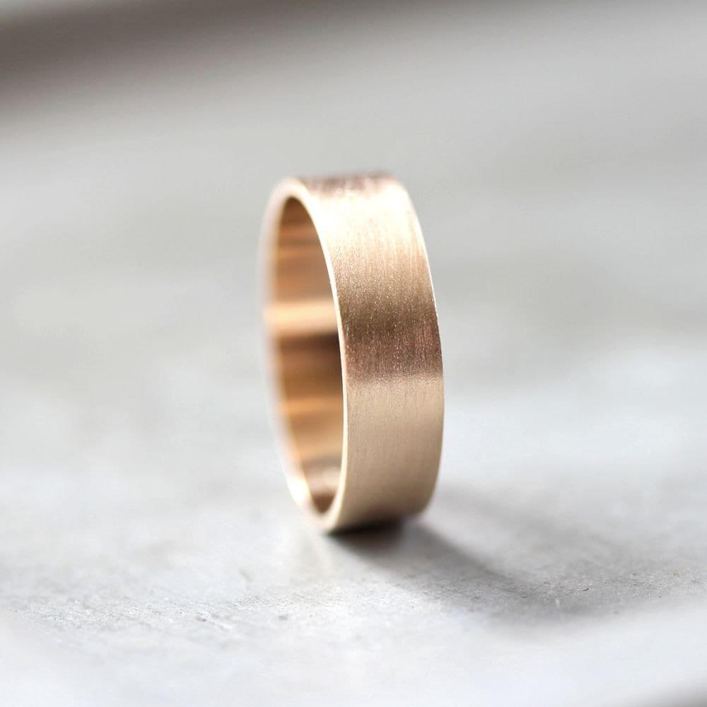 mens gold wedding band 6mm wide brushed gold wedding bands Gold Men s Wedding Ring zoom