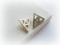 Legend of Zelda Triforce Earrings Trianlge silver studs