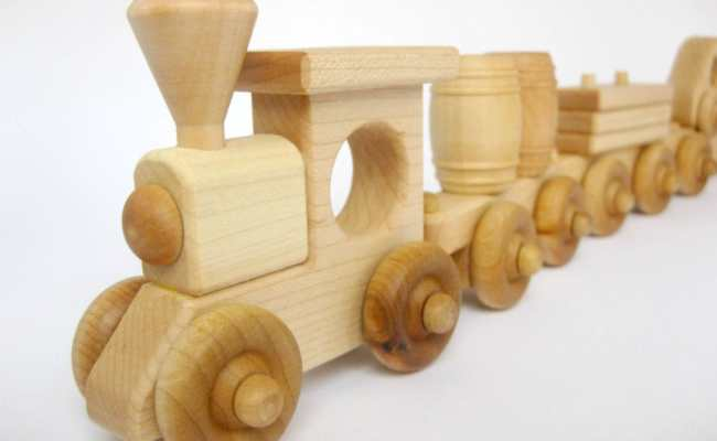 Wooden Toy Train Set 4 Cars Organic Wood Toy