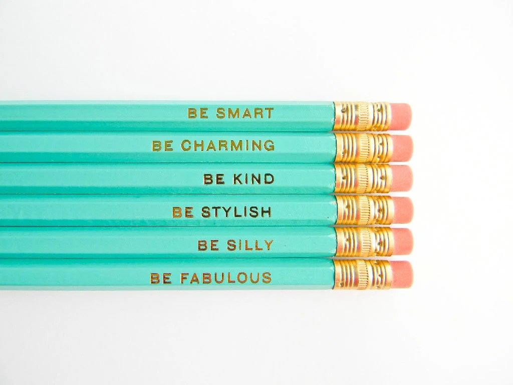 Cute Adventure Is Out There Wallpapers Gentle Reminders Pencils Aqua And Gold Set Of 6