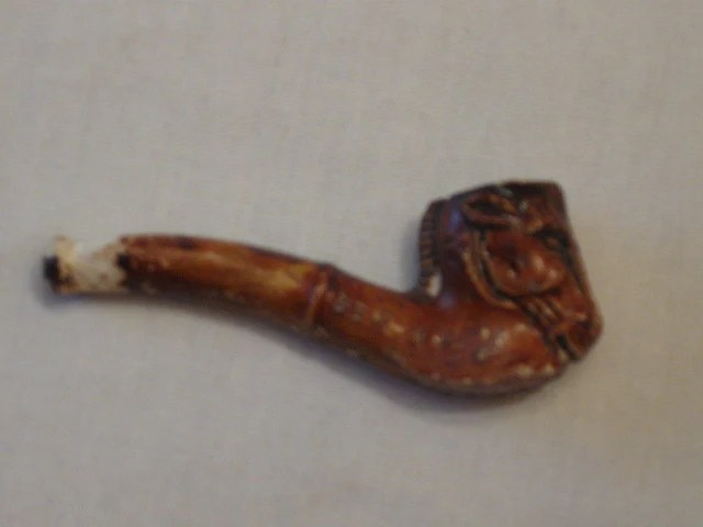 Doll Stroller Vintage Pipe Horse Head Miniature Pottery German Antique