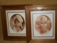 Framed Art Home Interiors Print Children Cowboy Prairie Girl