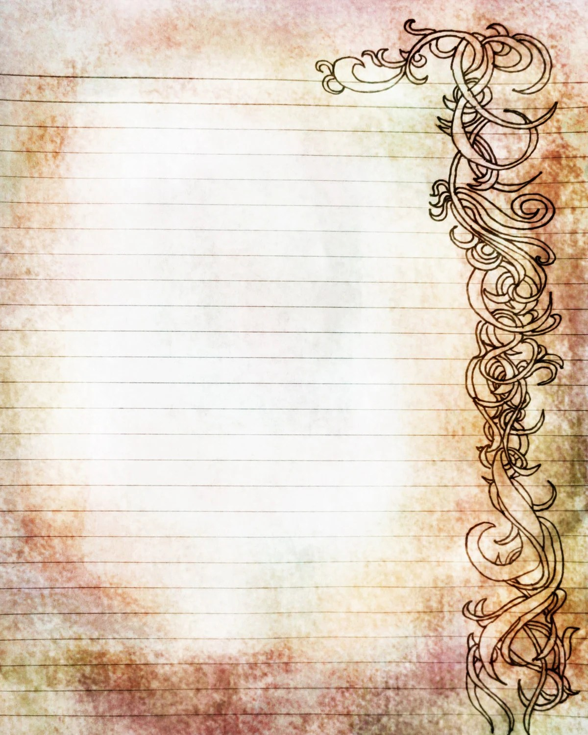 Printable Amber and Rose Colored Filigree Lined Journal Page - colored writing paper