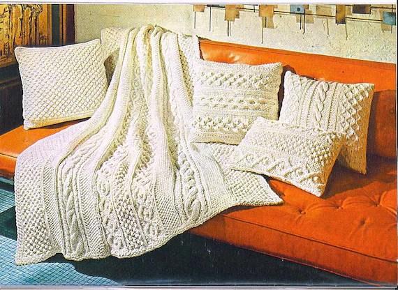 Knitting Pattern Aran Afghan Pillows 017 Etsy