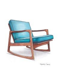 Mid Century Modern Danish Teak Chair Drawing Aqua Blue 8x10