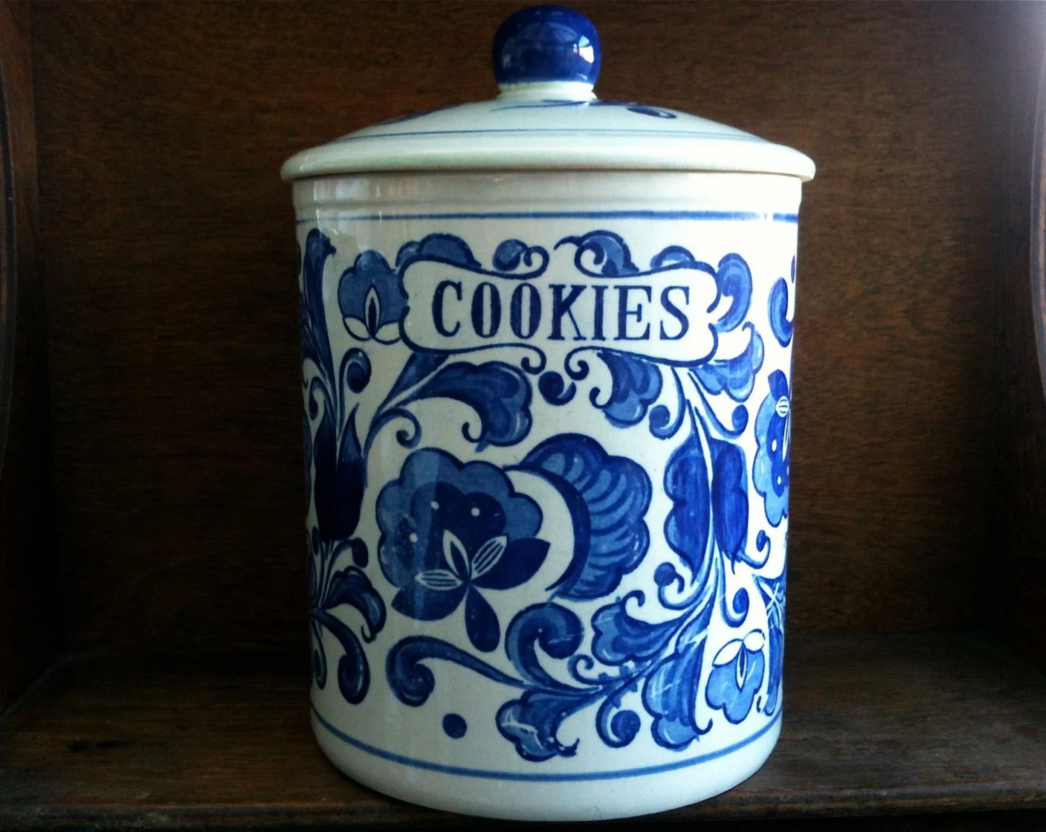 Modern Cookie Jar Vintage American Ceramic Blue And White Cookie Jar Circa