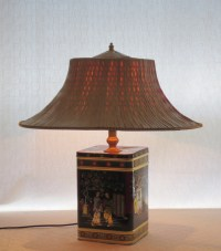 Fortune Cookie II tin table lamp with straw hat by 4fLighting