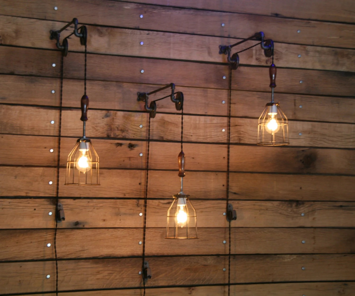 Wall Mounted Industrial Lights Pulley Wall Mount With Industrial Cage Light And Wooden Handle