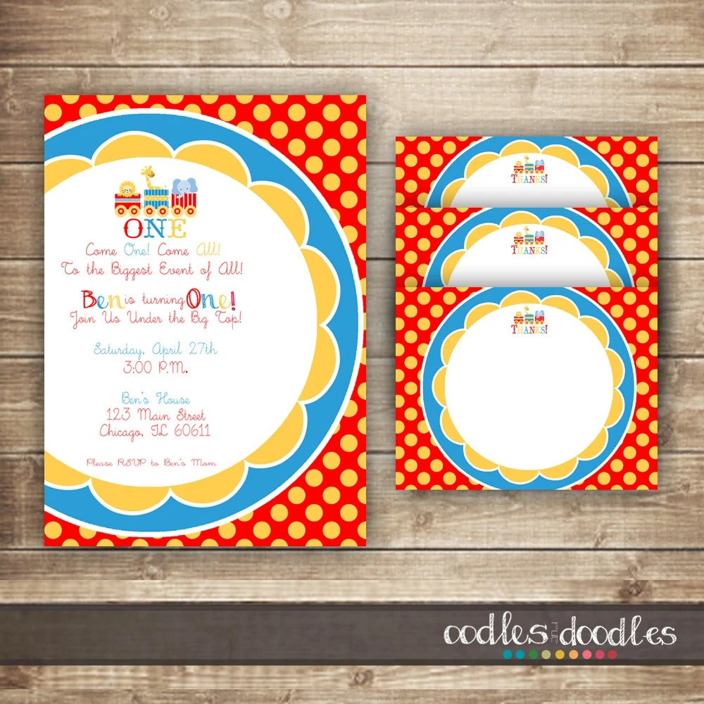 Circus Birthday Invitation  Thank You Note Card / Boy\u0027s Birthday - birthday invitation note